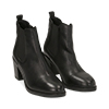 Ankle boots neri in pelle, tacco 4,50 cm