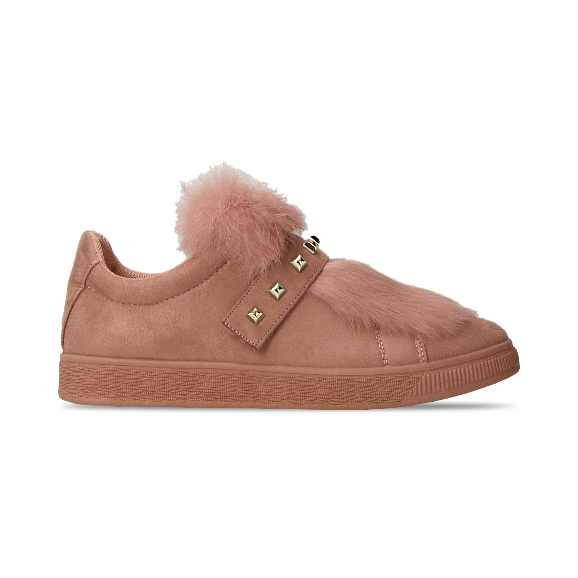 Sneakers rosa nude slip-on con dettagli faux-fur e borchie