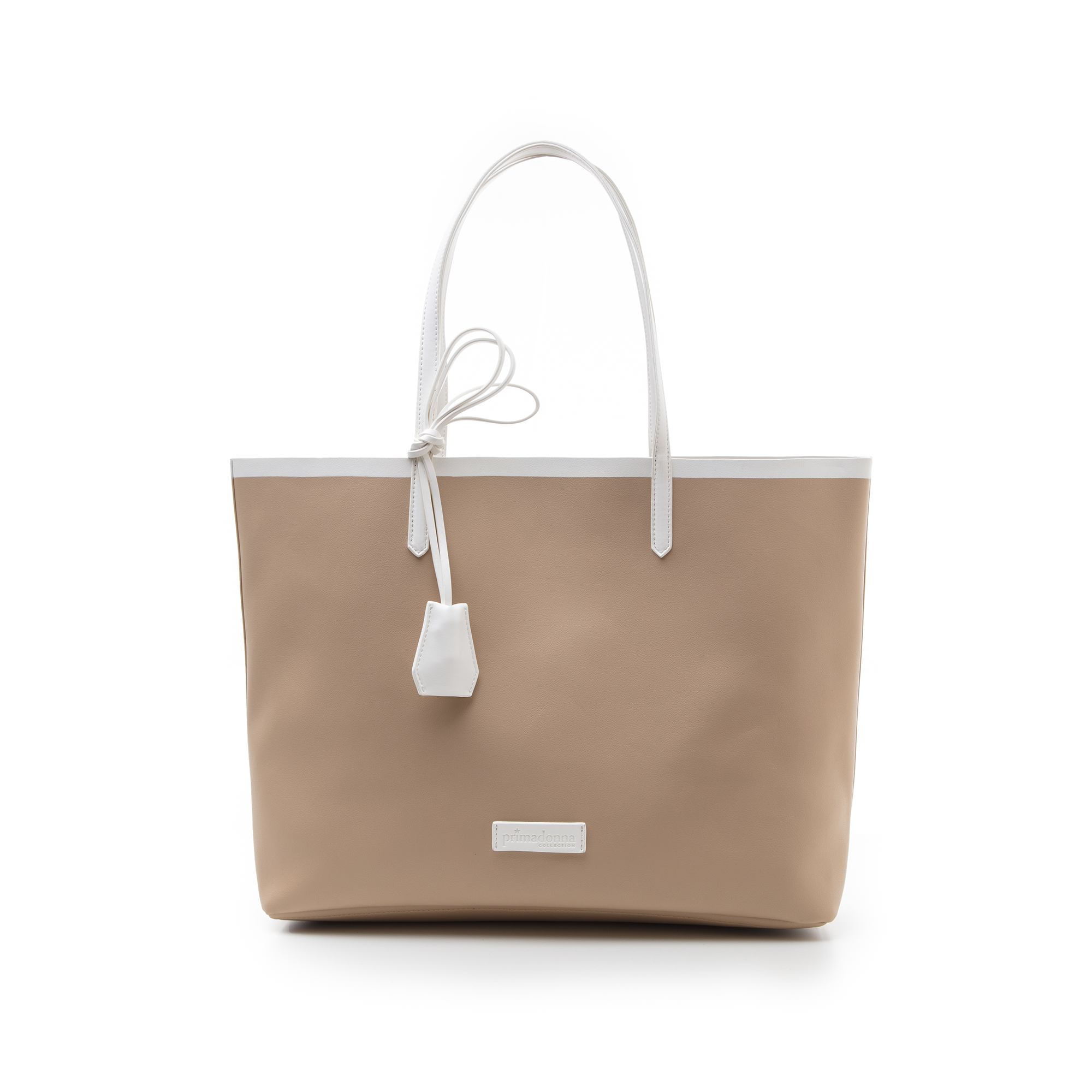 Maxi bag beige/bianca in eco-pelle