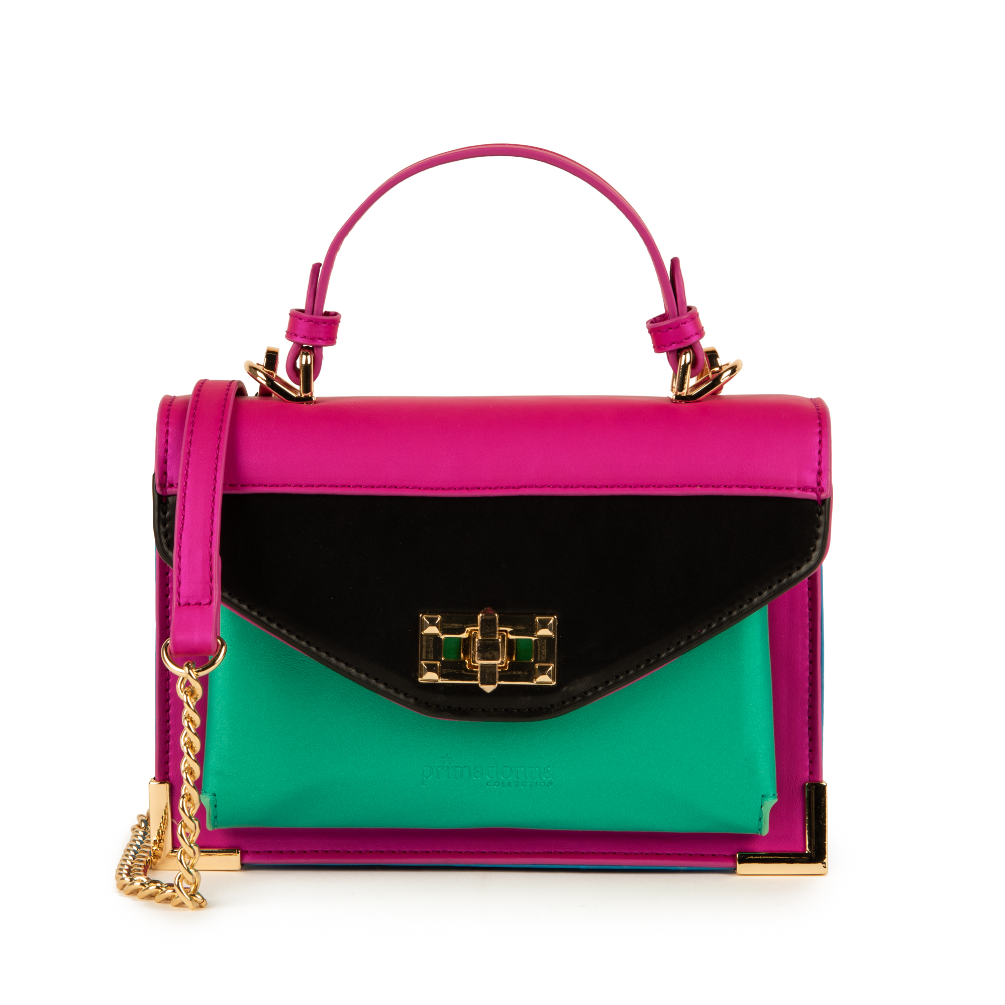 Mini bag fucsia in eco-pelle e raso