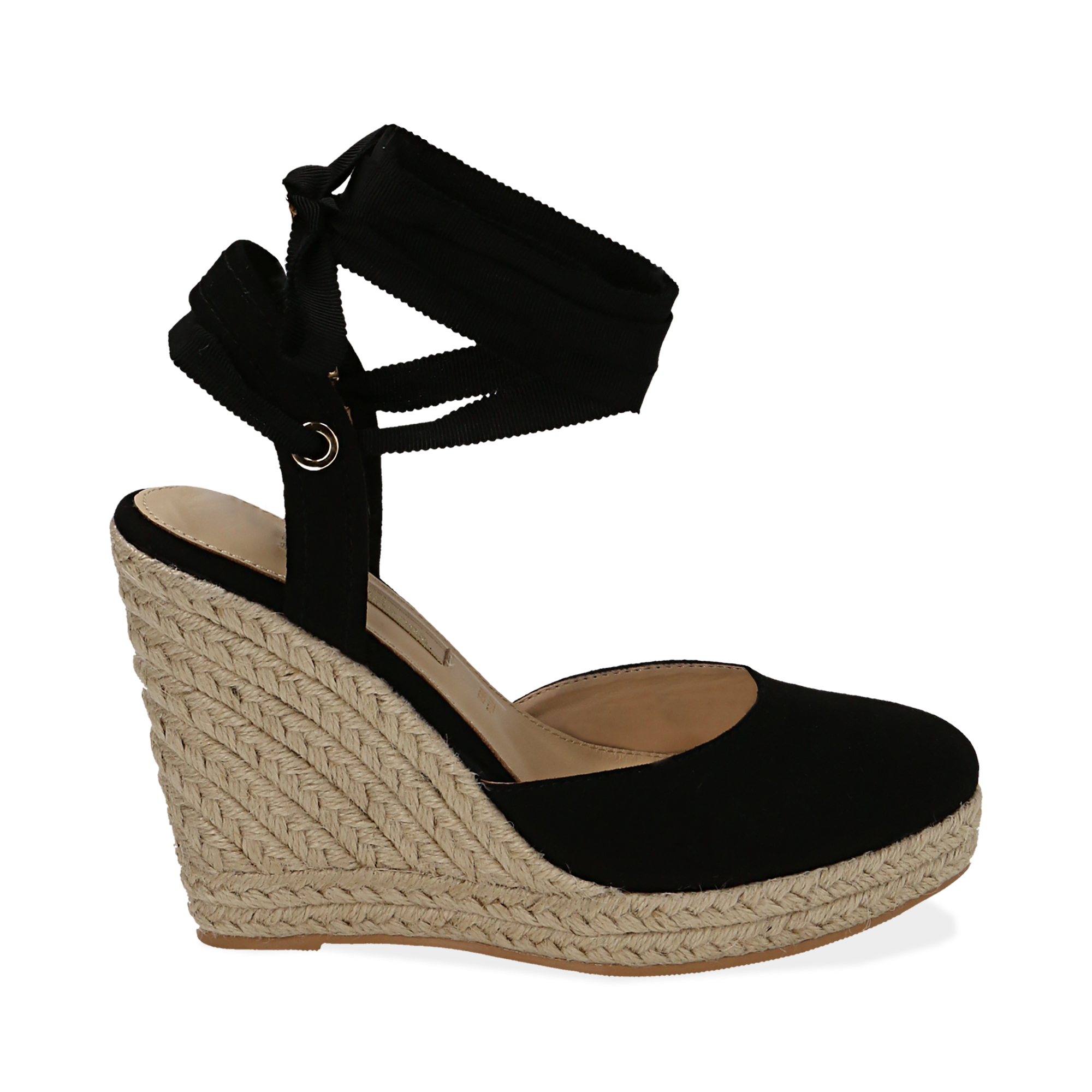 Espadrillas lace-up nere in microfibra, zeppa 10,50 cm