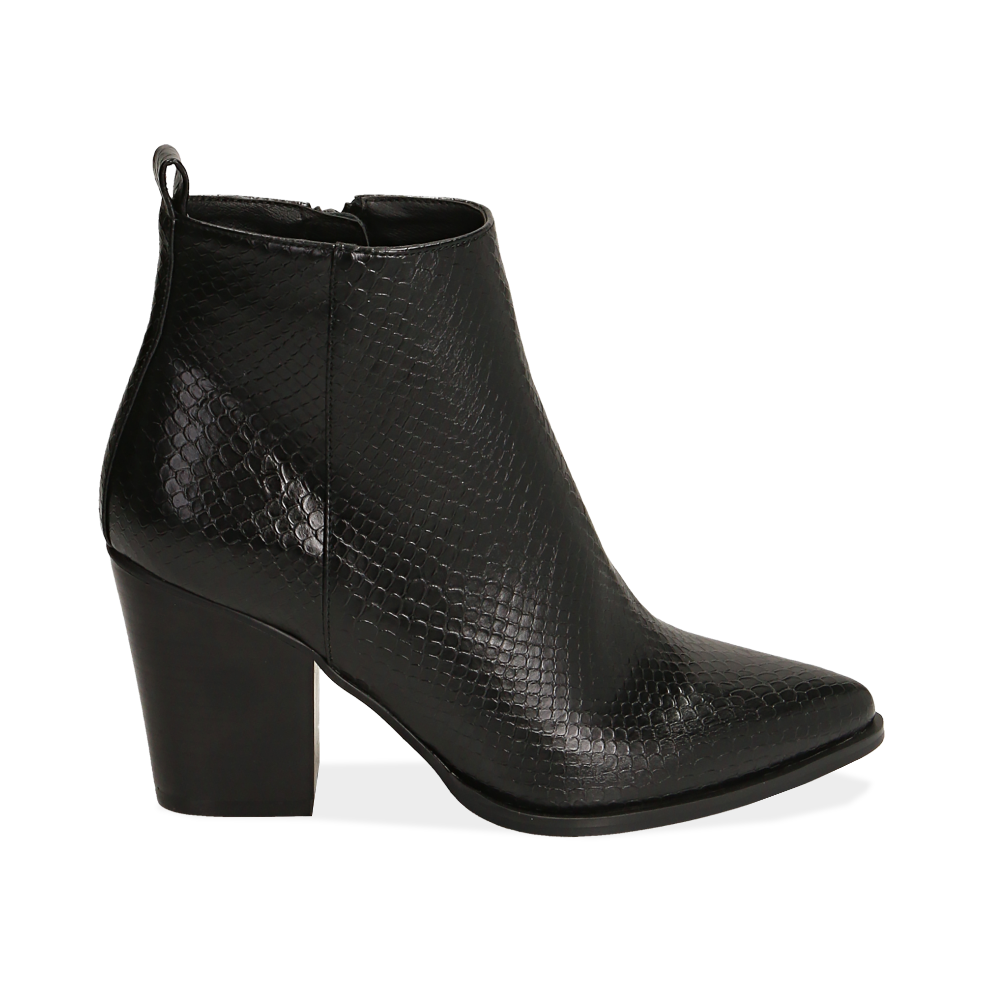Ankle boots neri stampa vipera, tacco 8,50 cm