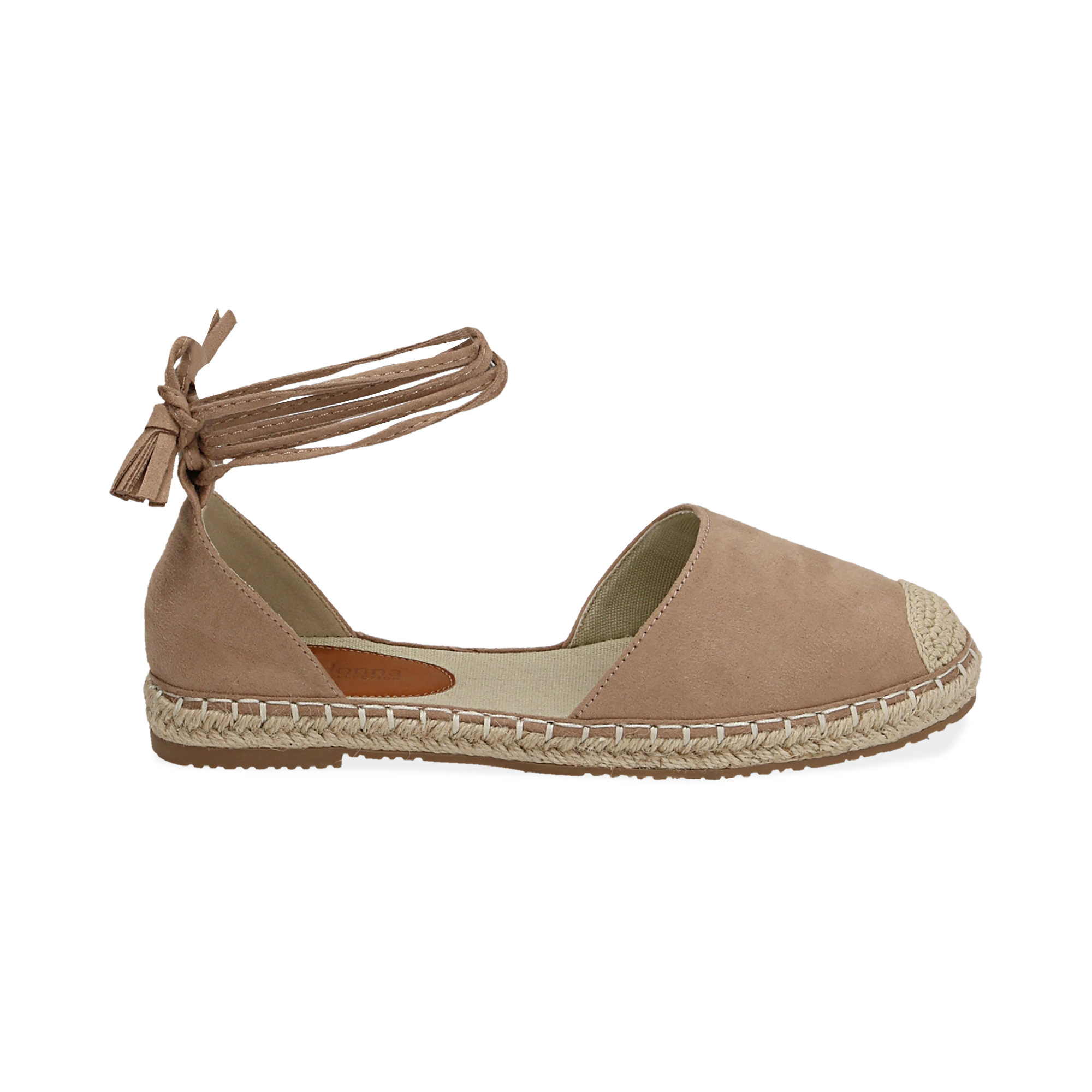 Espadrillas lace-up beige in microfibra