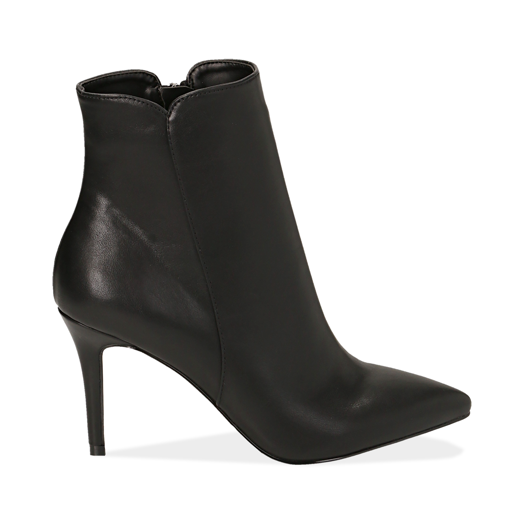 Ankle boots a punta neri in eco-pelle, tacco 8,5 cm