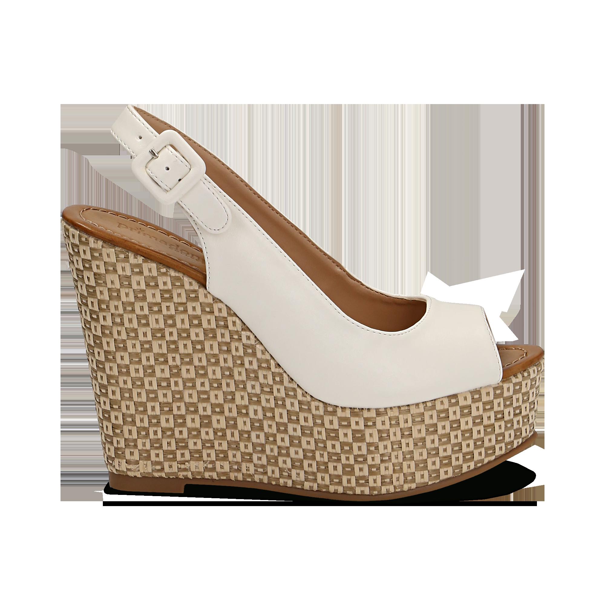 f3029d40a84d13 Sandali platform bianchi, zeppa intrecciata 13 cm donna | Primadonna  Collection
