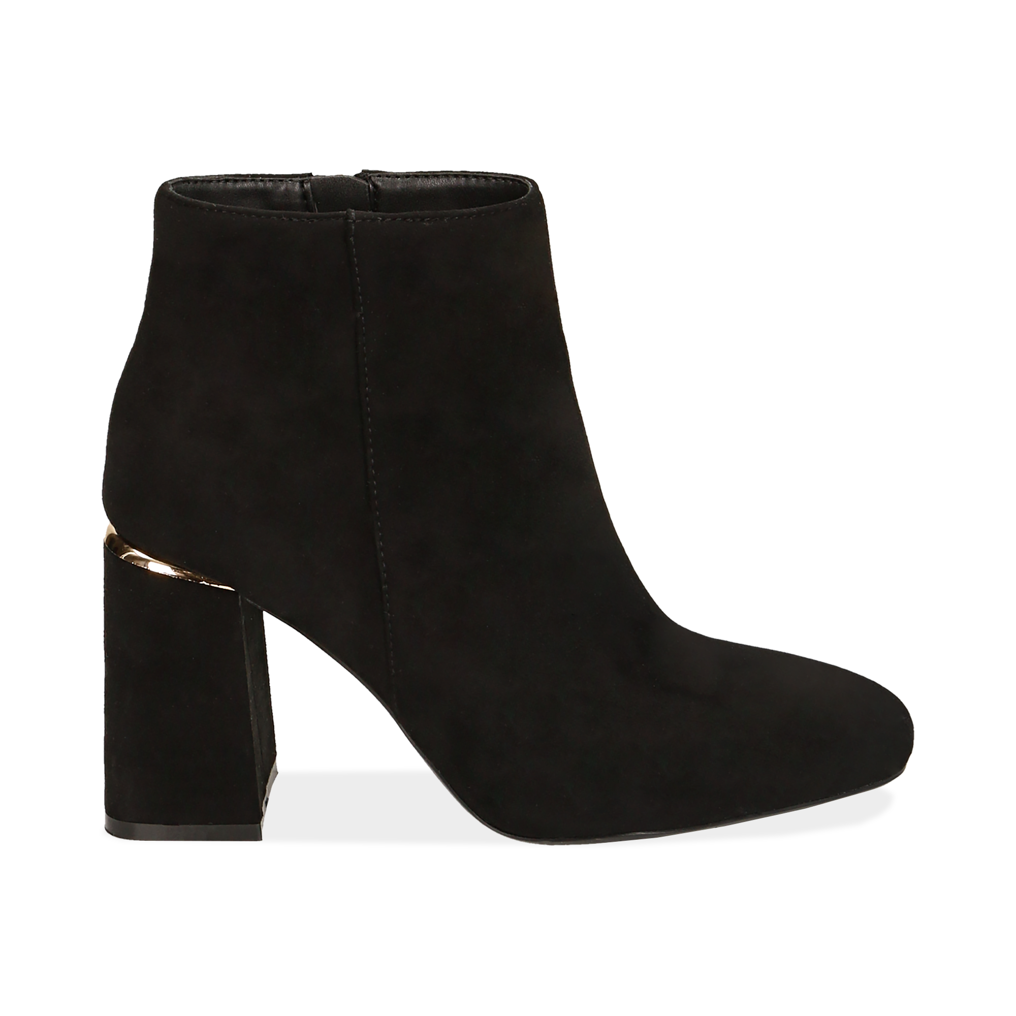 Ankle boots neri in microfibra, tacco 9 cm