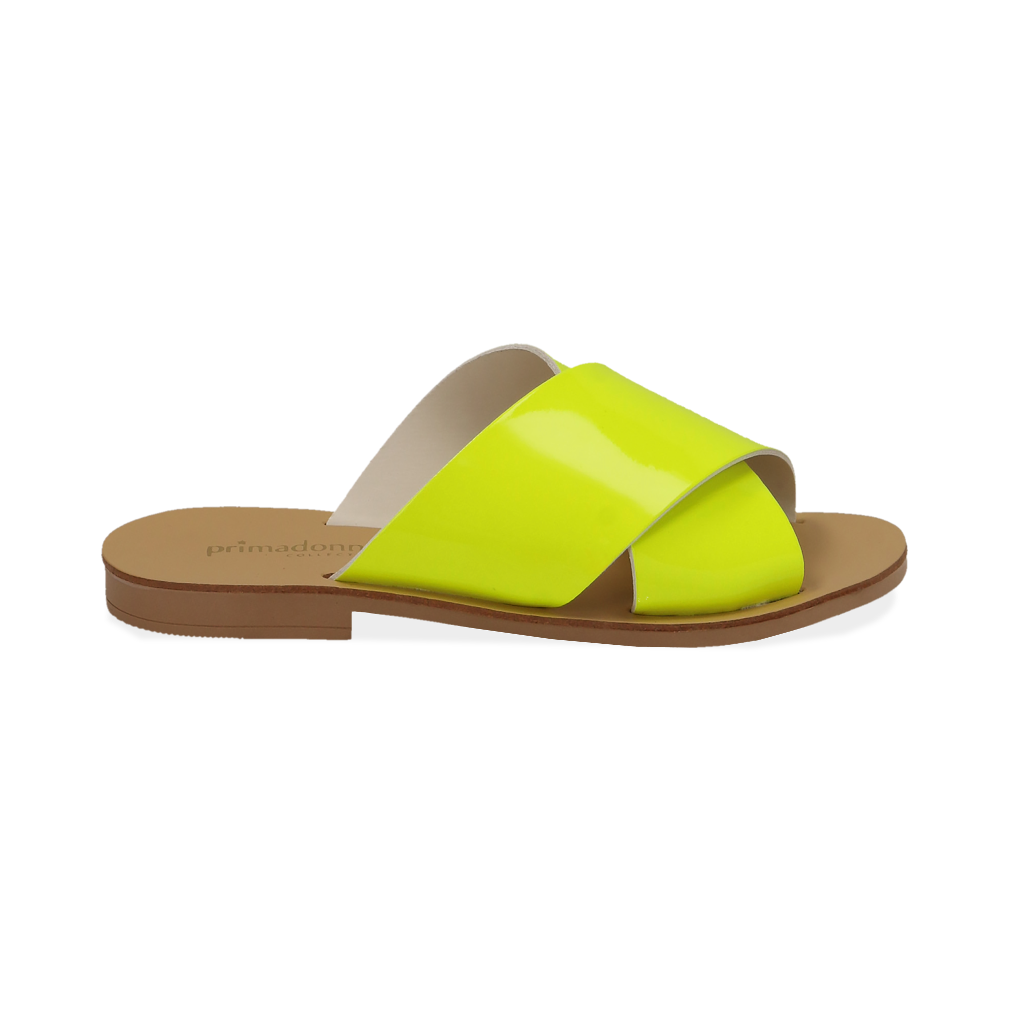 Mules flat gialle in vernice fluo