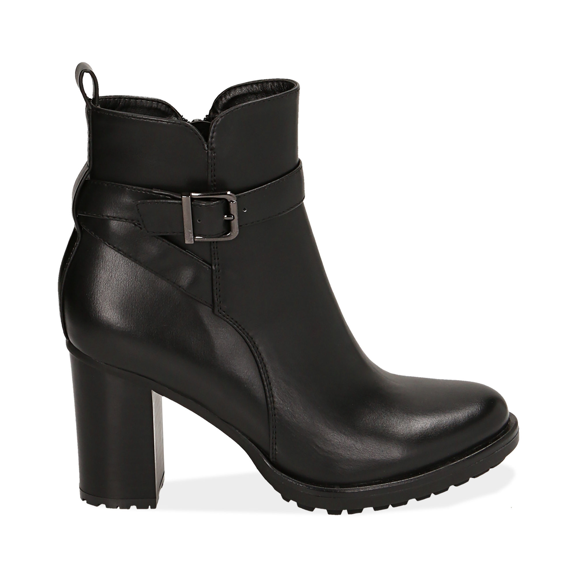 Ankle boots neri, tacco 8 cm