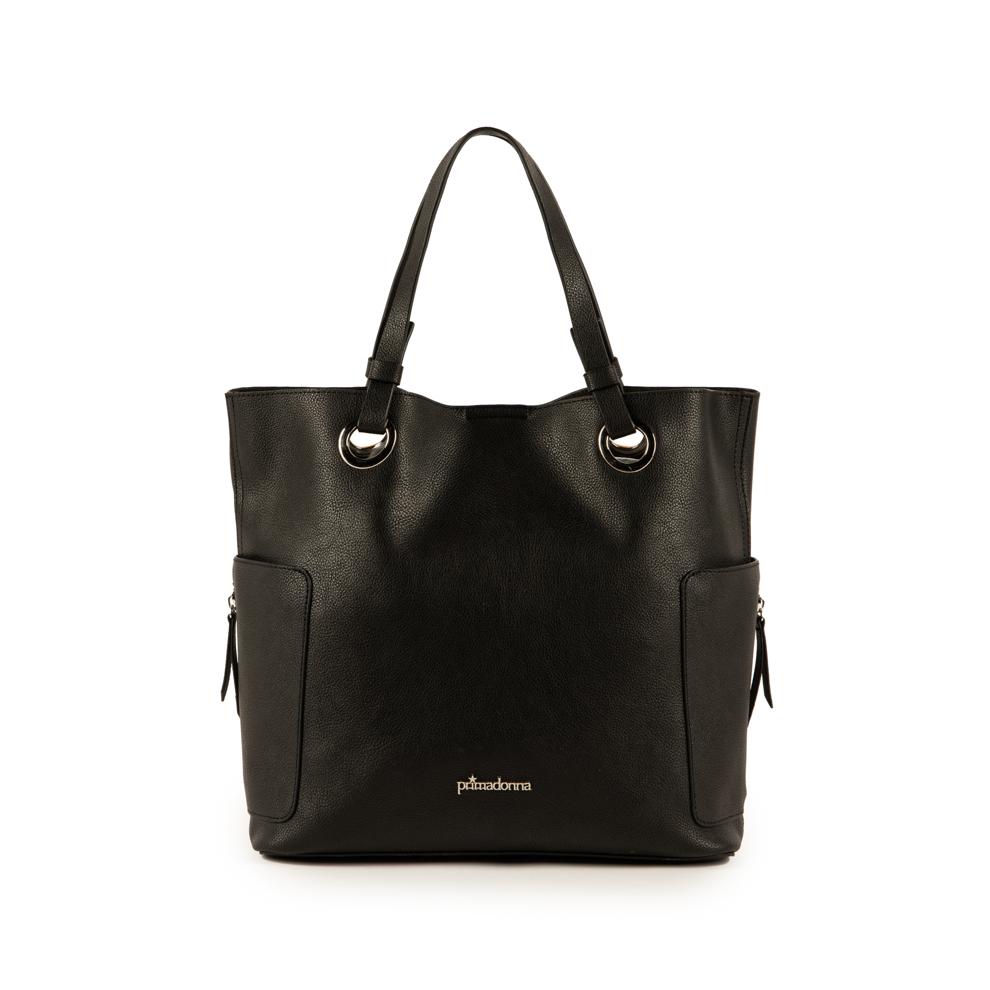 Grand sac noir en simili-cuir