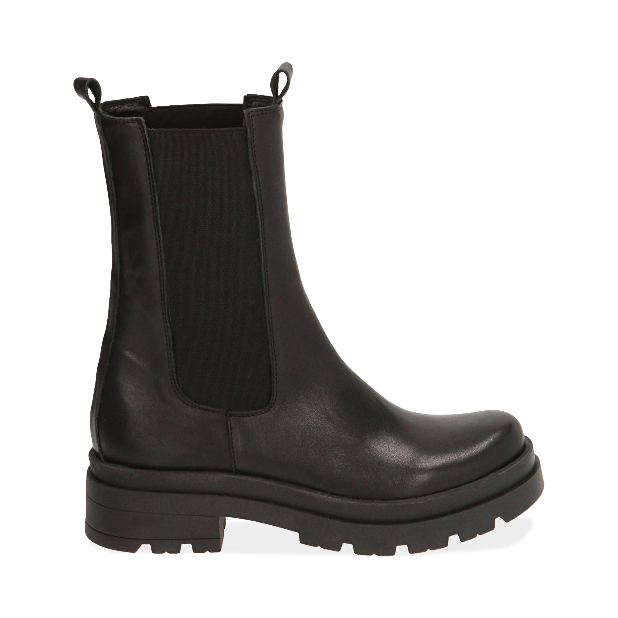 Chelsea boots neri in pelle, tacco 5 cm