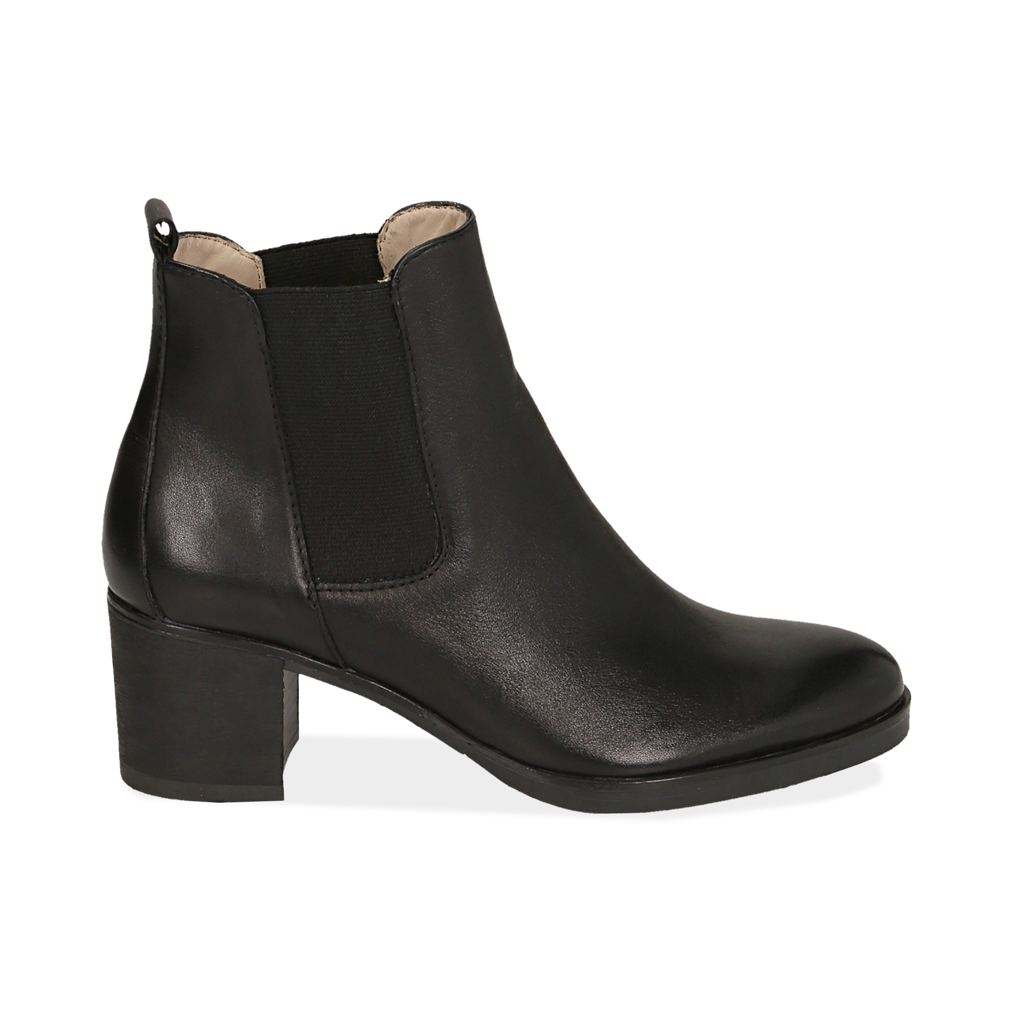 Chelsea boots neri in pelle, tacco 6 cm