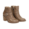 Ankle boots taupe in eco-pelle con gambale traforato, tacco 7 cm