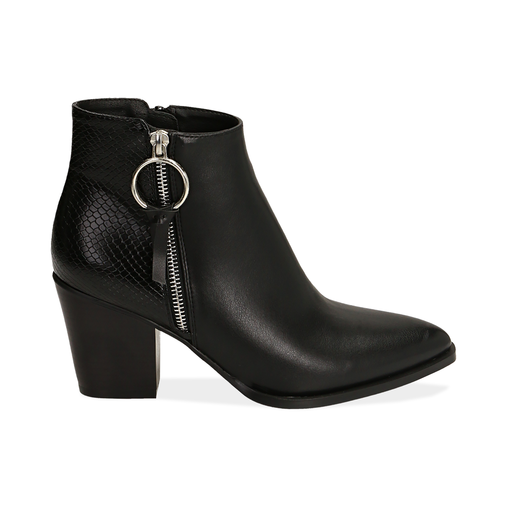 Ankle boots a punta neri, tacco 7,50 cm