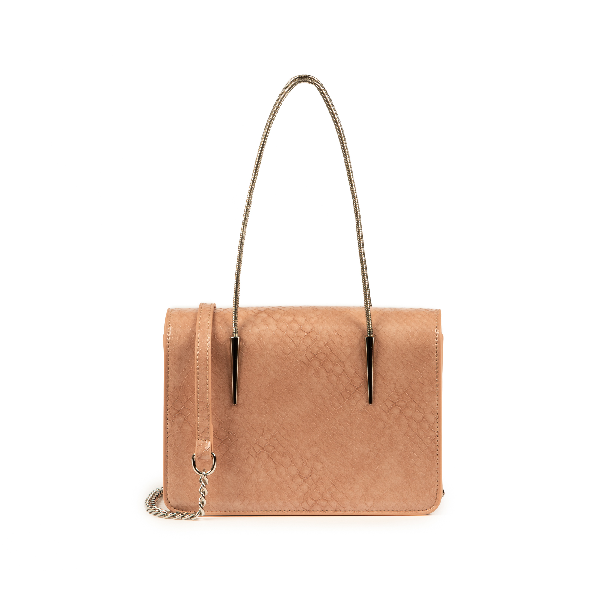 Mini bag nude in eco-pelle snake print
