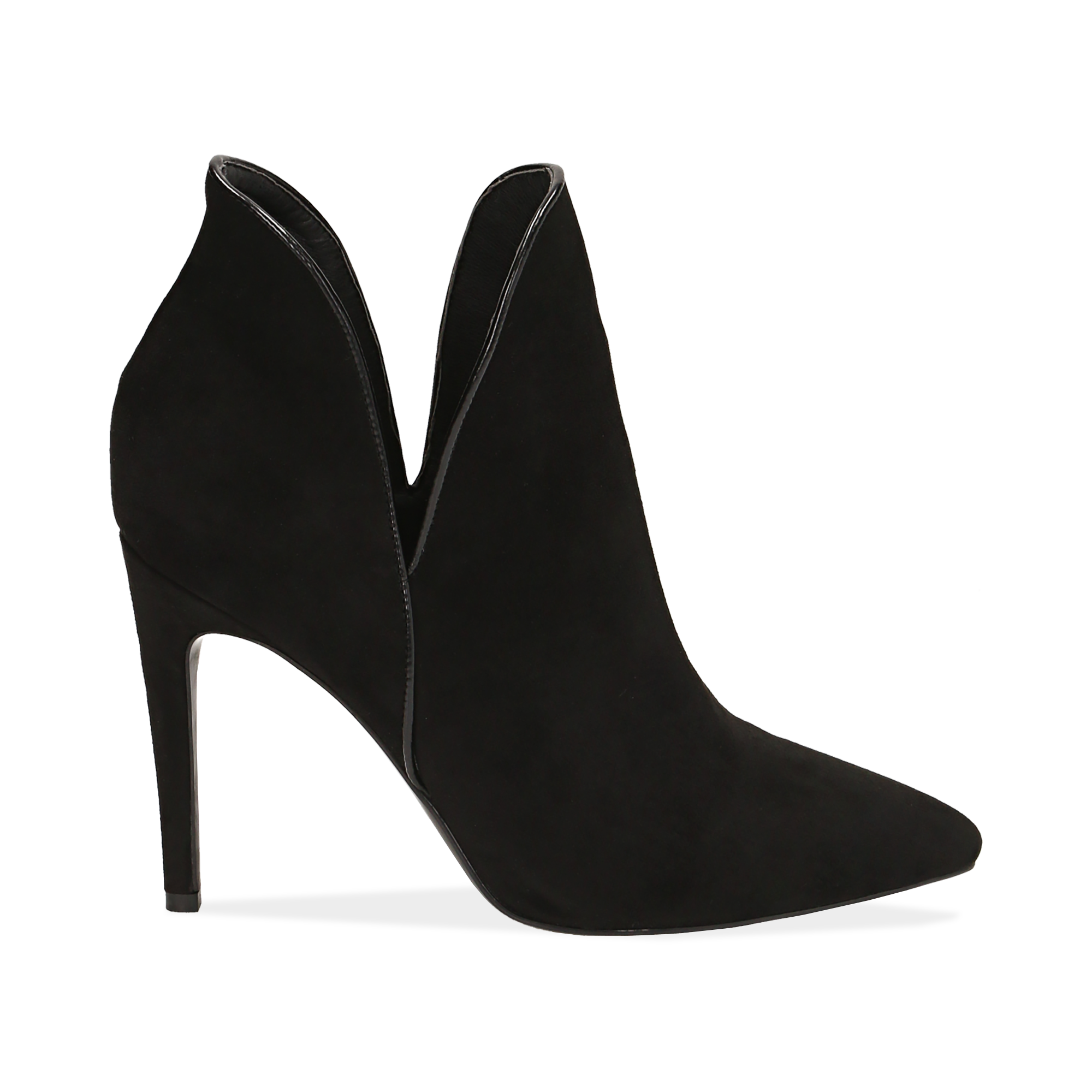 Ankle boots neri in microfibra, tacco 10,50 cm