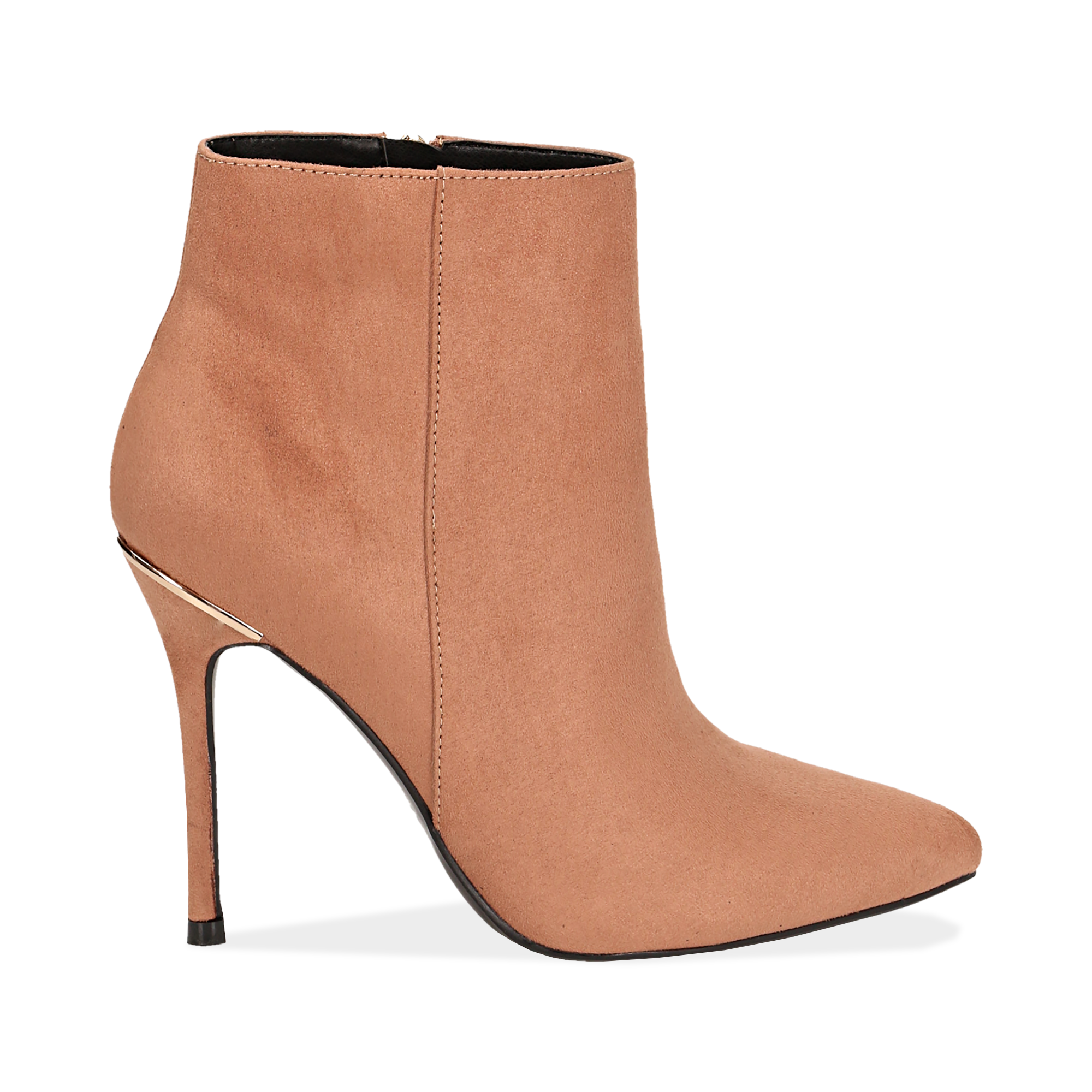 Ankle boots nude in microfibra, tacco 10,5 cm