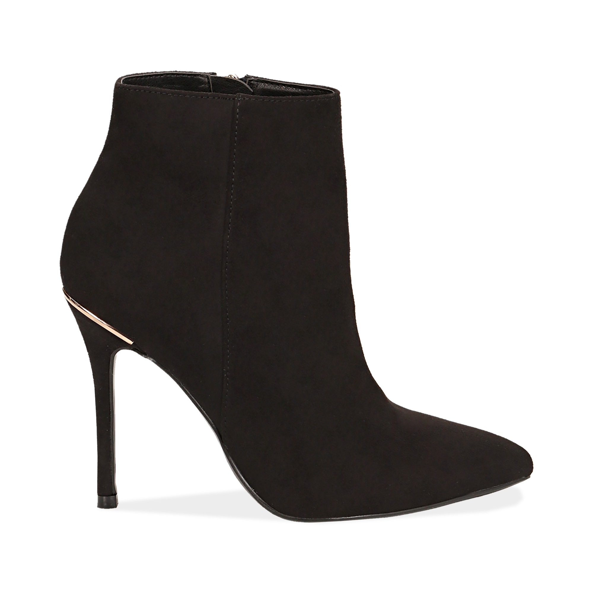 Ankle boots neri in microfibra, tacco 10,5 cm