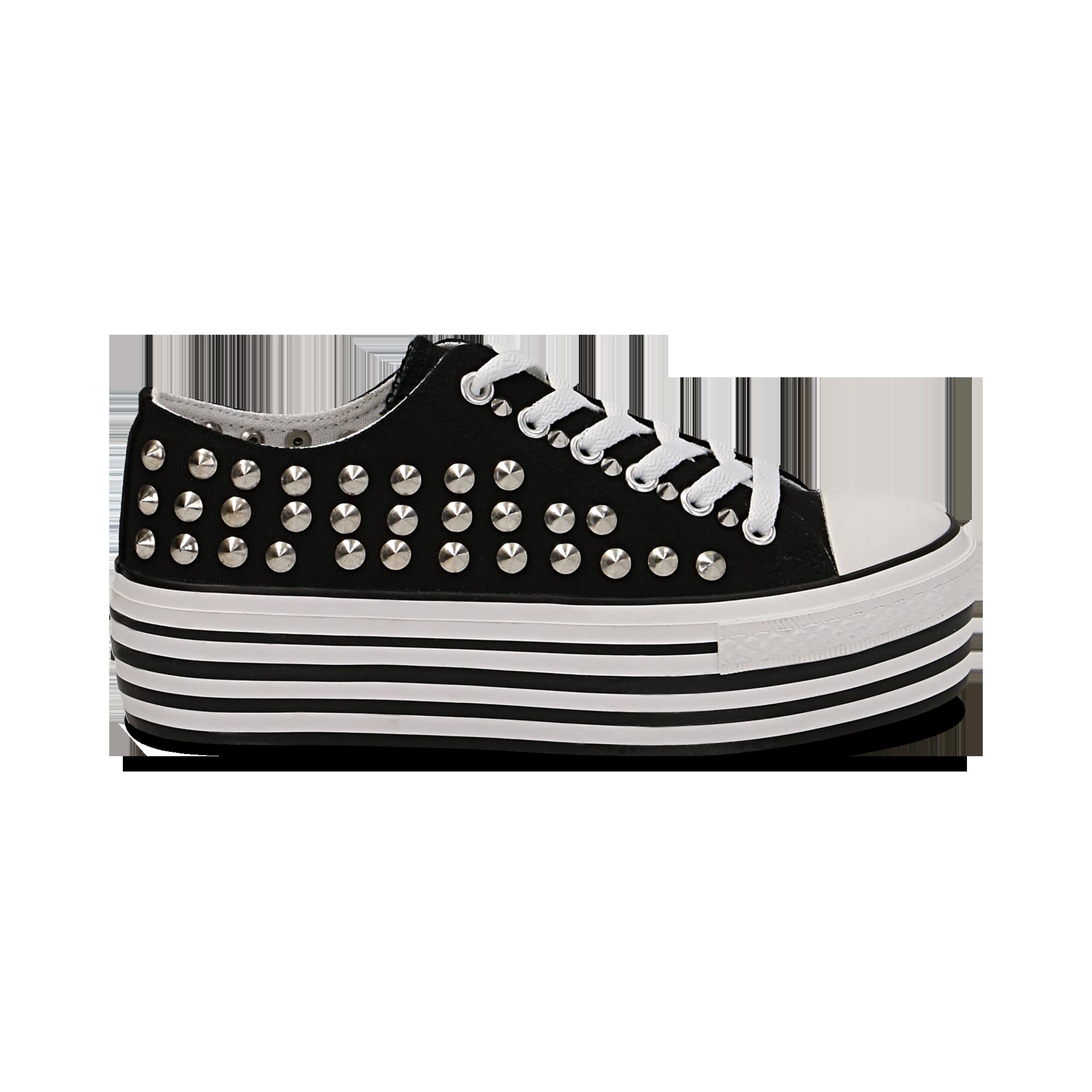 22 Sneakers nere in canvas con borchie 830c58d7ead