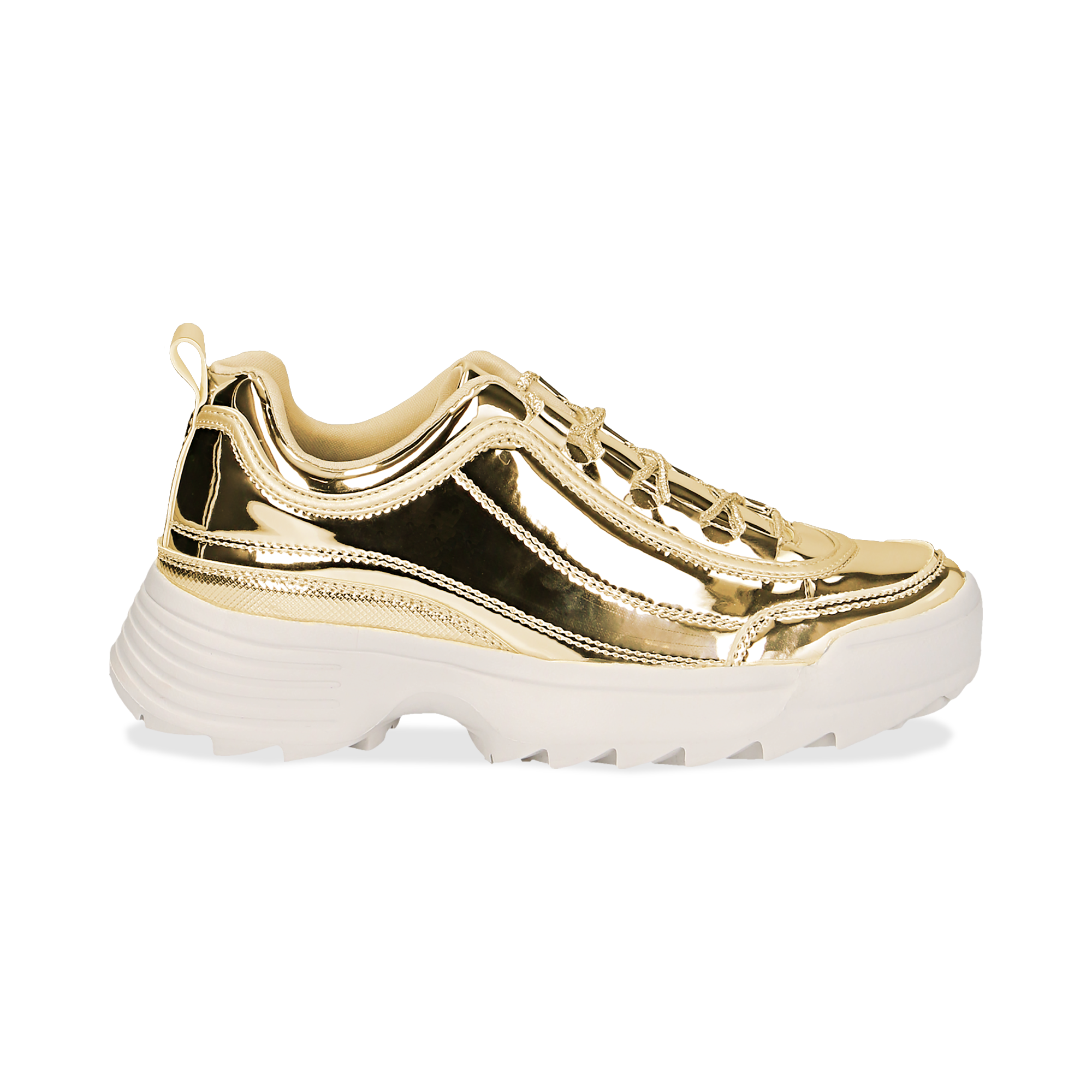 Dad shoes oro in vernice mirror con maxi-suola