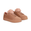 Sneakers nude con pon pon in eco-fur