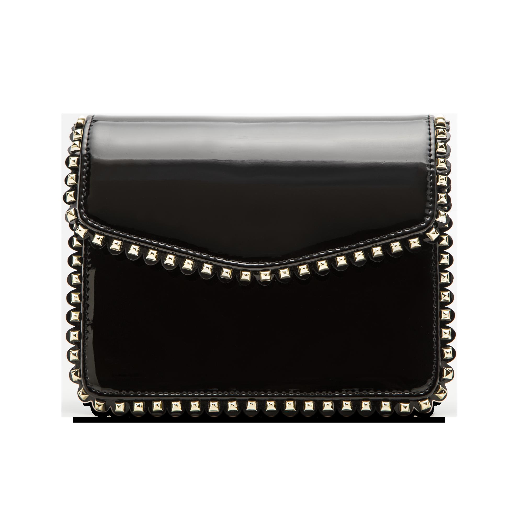 b8dc60a325 10 Pochette con tracolla nera in ecopelle vernice, profili mini-borchie