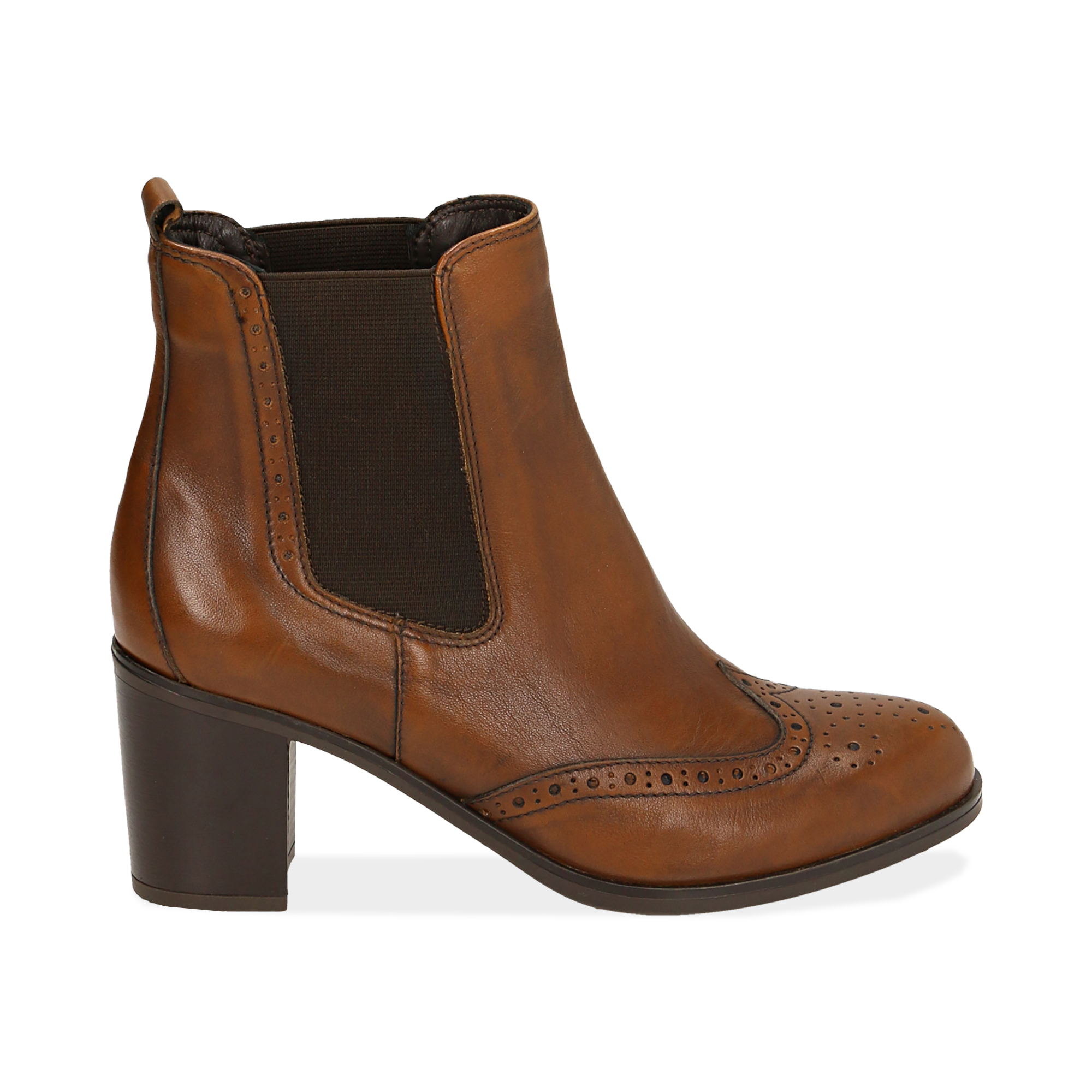 Ankle boots cuoio in pelle, tacco 7,50 cm