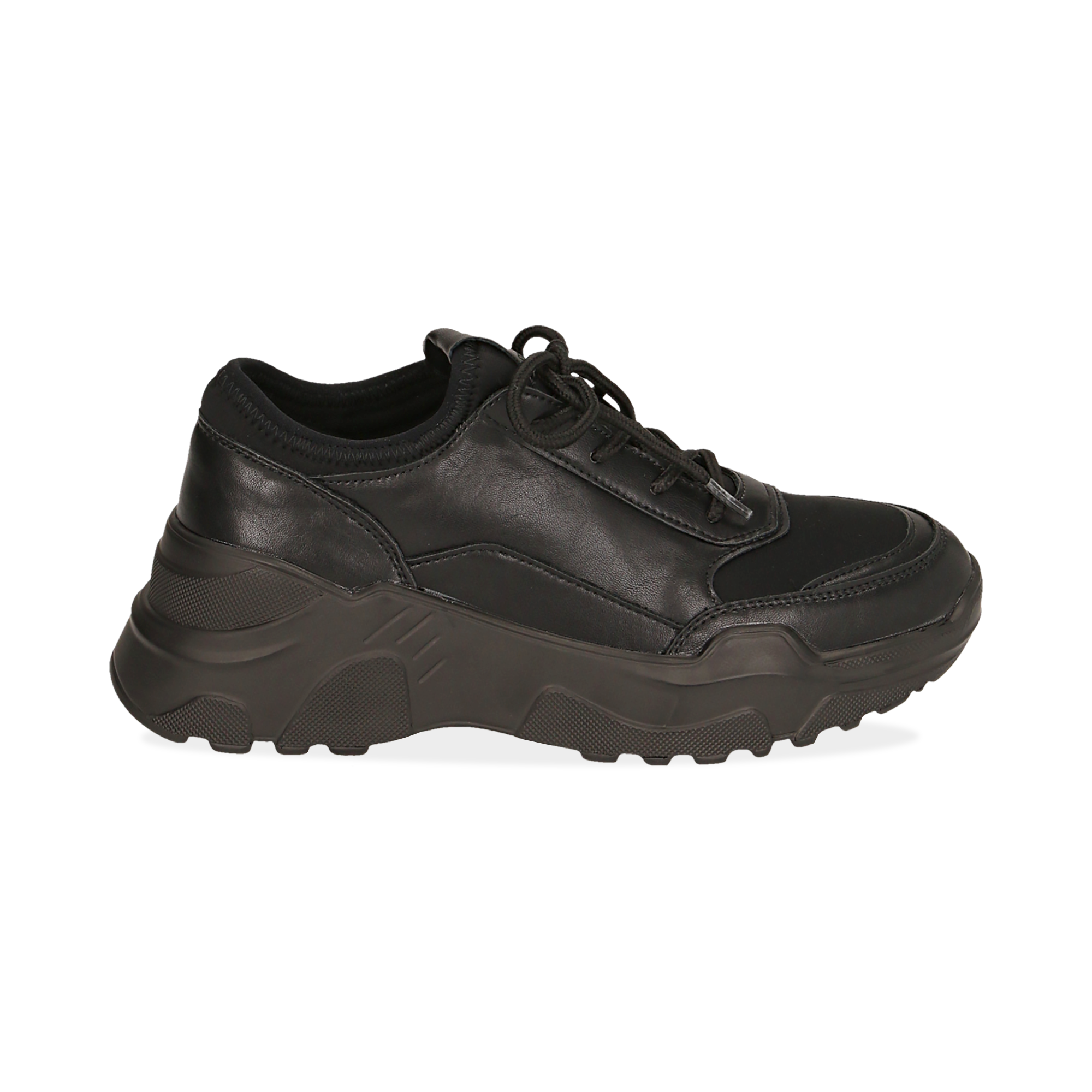 Dad shoes nere in eco-pelle, zeppa 4 cm