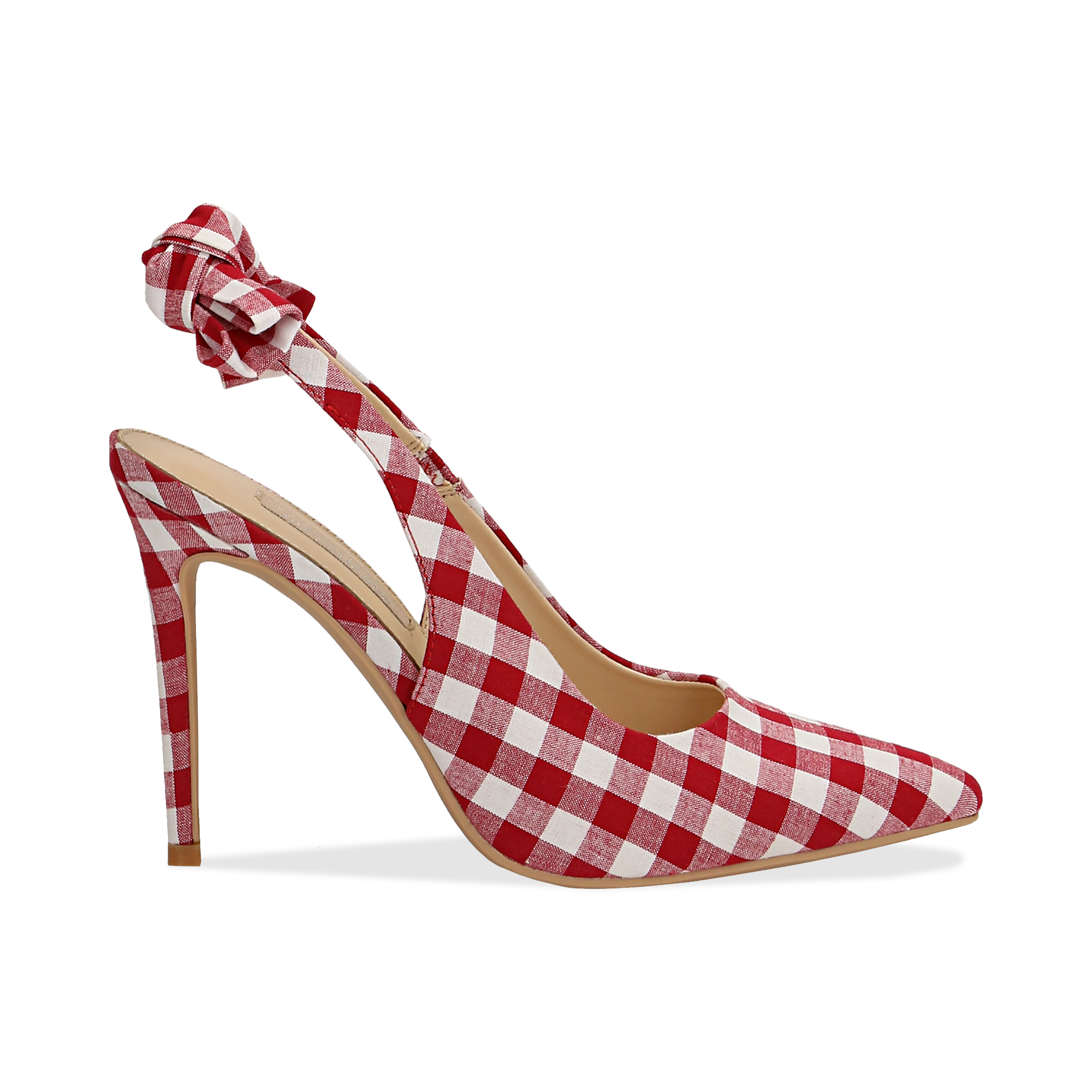 Décolleté Slingback bianco/rosse in tessuto Vichy, tacco 10,5 cm,