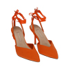 Slingback lace-up arancio in lycra, tacco 9 cm