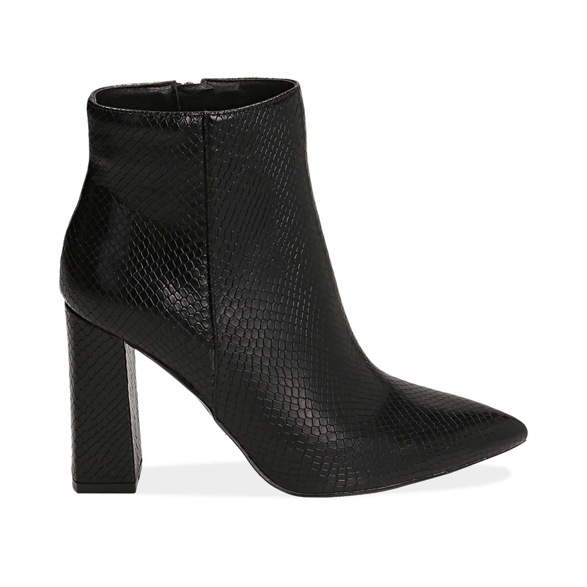 Ankle boots neri in eco-pelle stampa pitone, tacco 9,5 cm