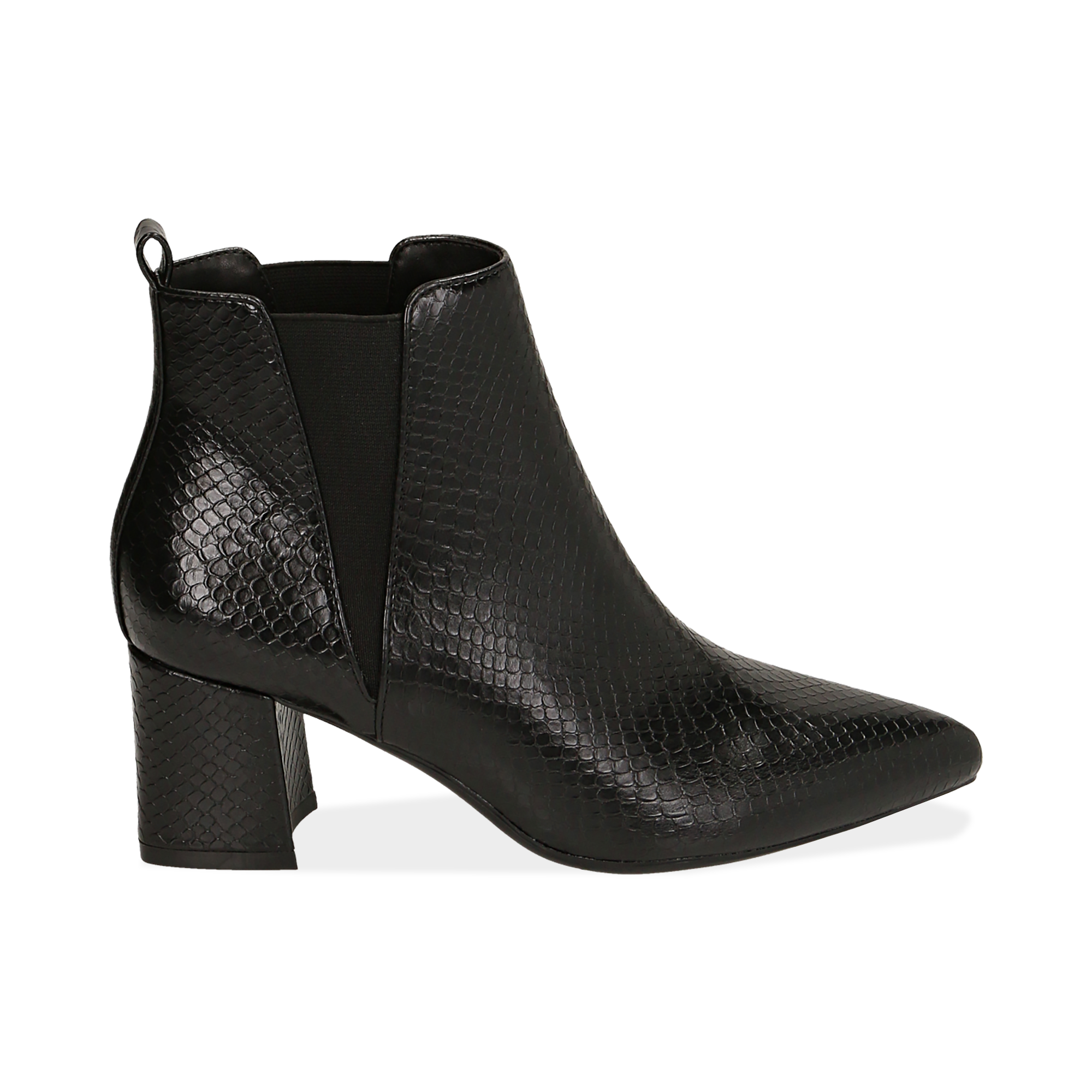 Ankle boots neri stampa vipera, tacco 6 cm