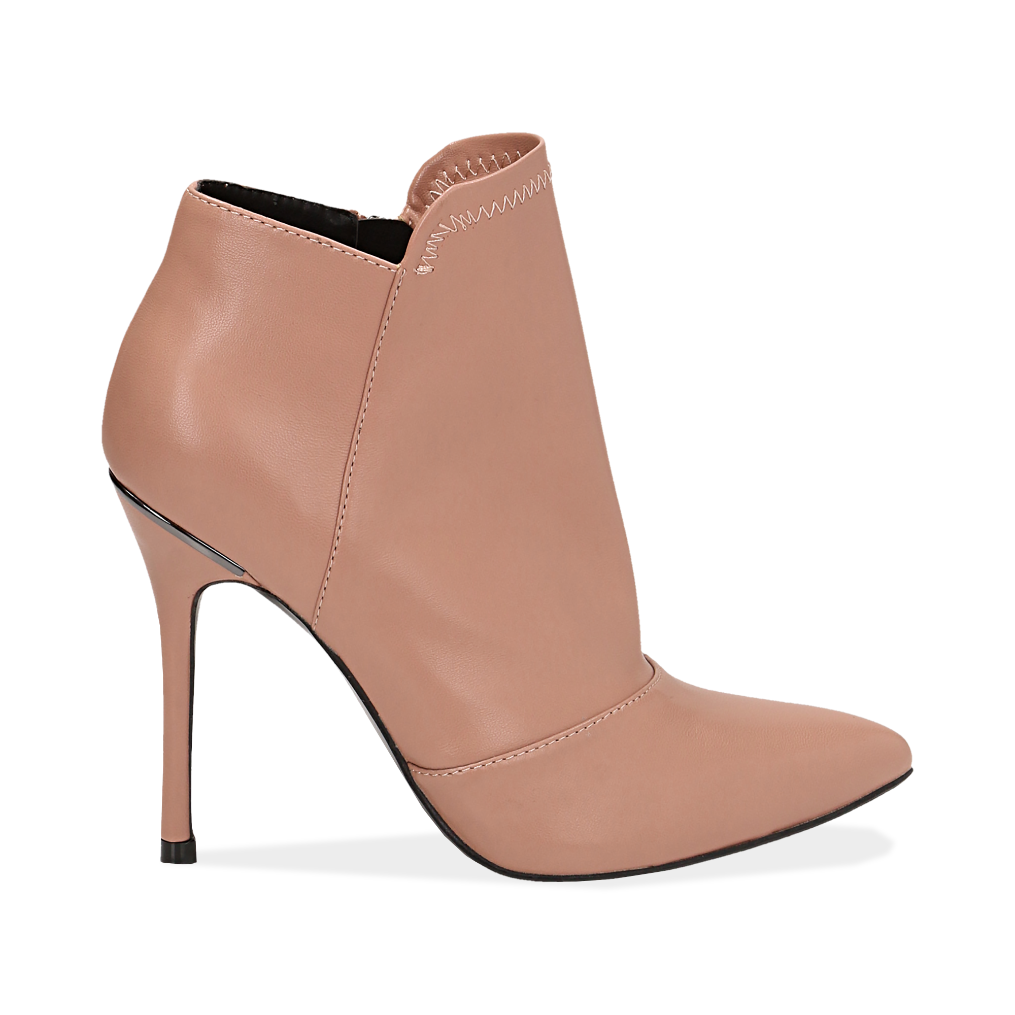Ankle boots nude in eco-pelle, tacco 10, 50 cm