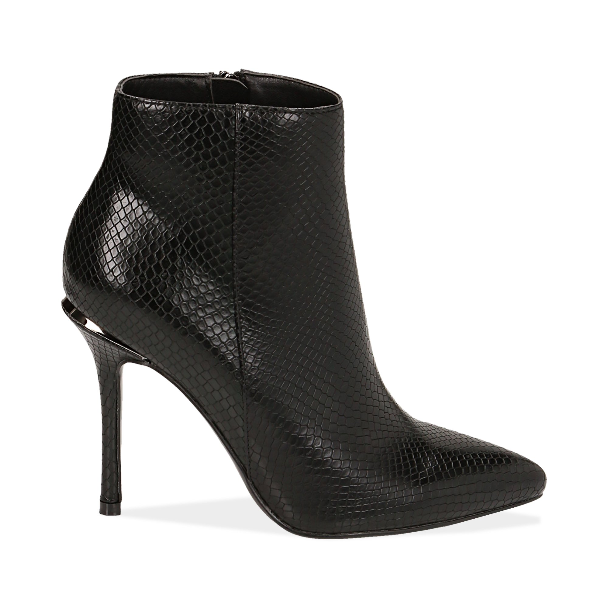 Ankle boots neri effetto snake, tacco 11 cm