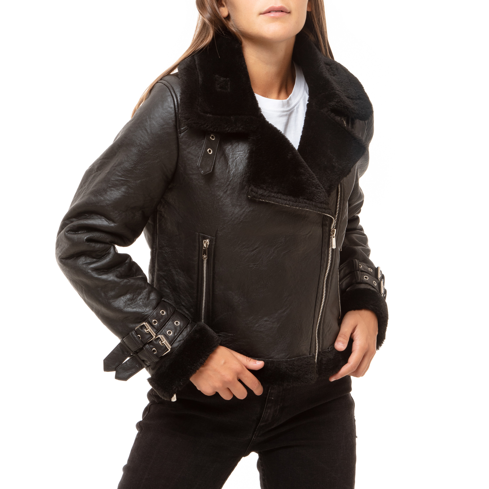 Aviator jacket nera
