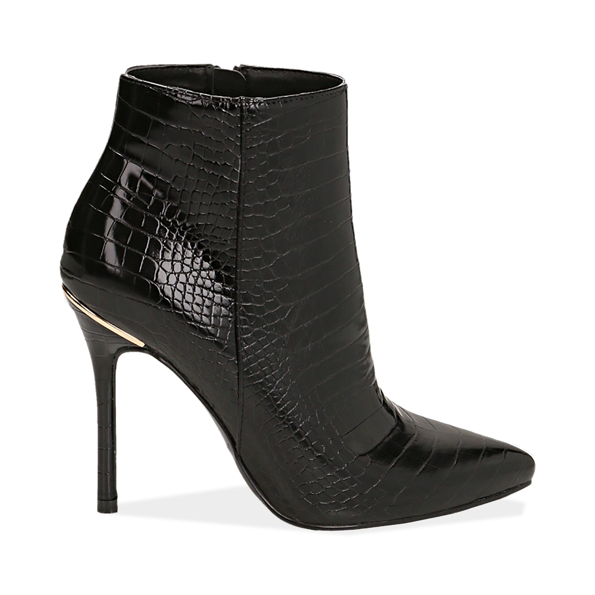 Ankle boots neri stampa cocco, tacco 11 cm