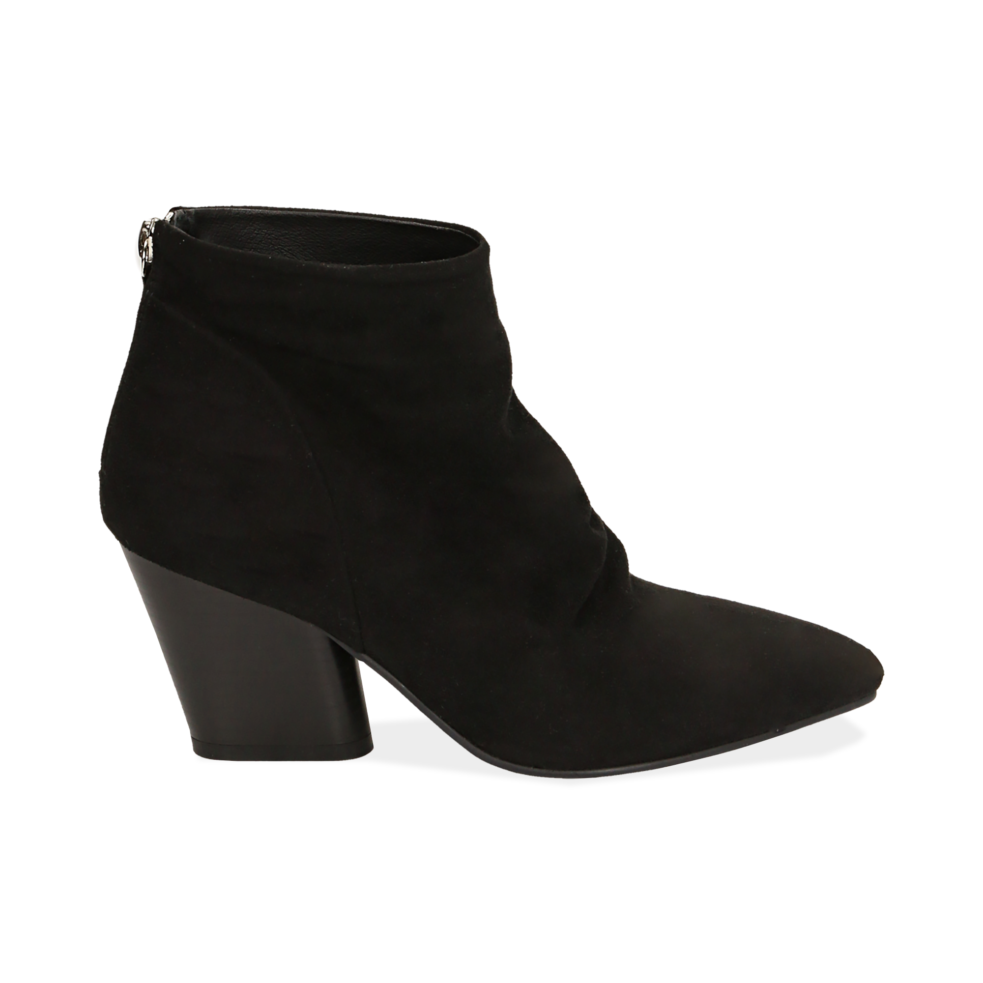Ankle boots neri in microfibra, tacco 7,50 cm