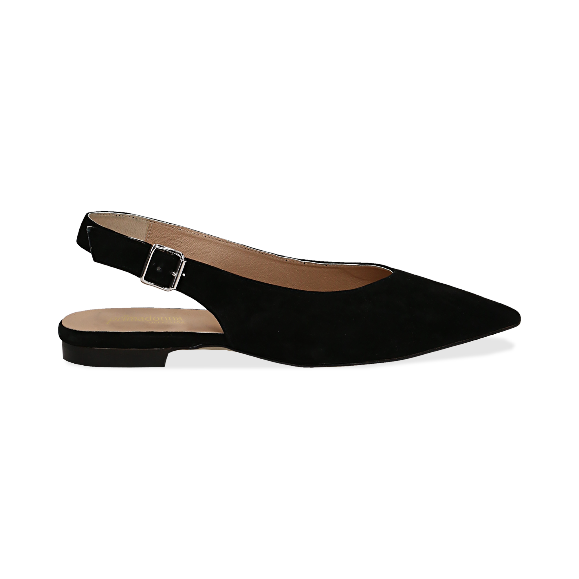 Slingback flat nere in camoscio