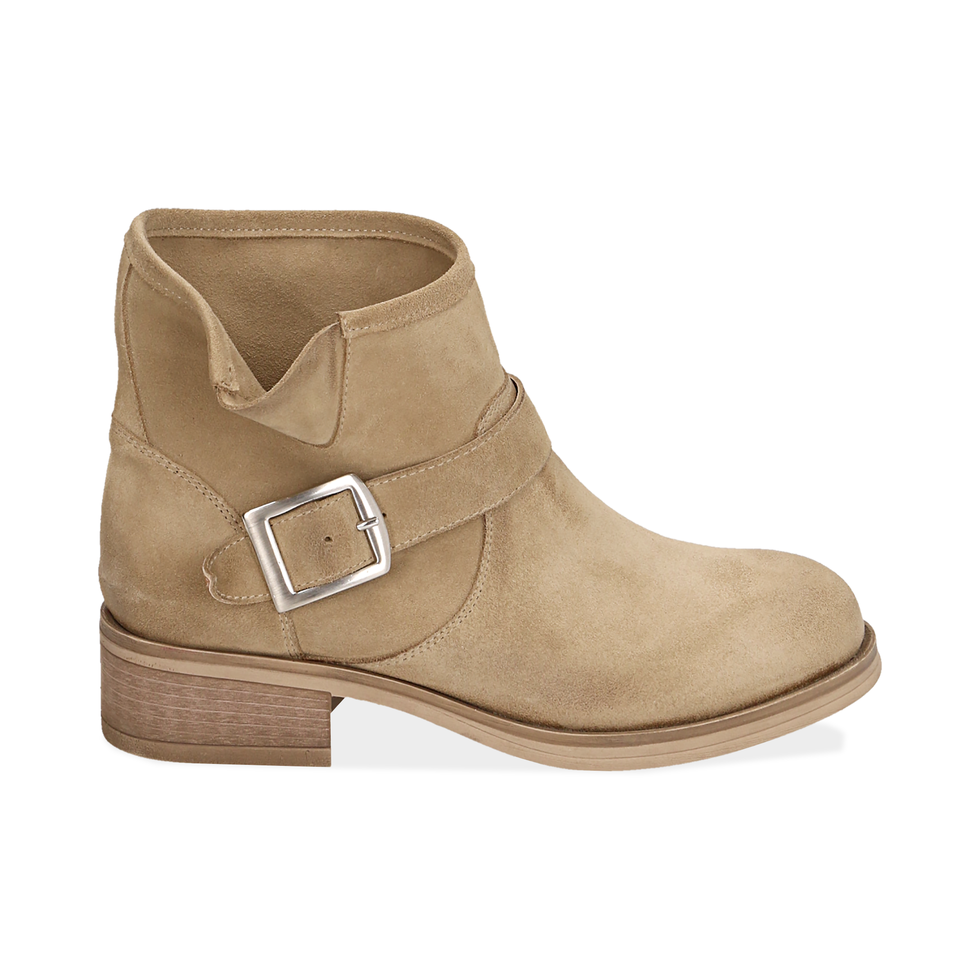 Biker boots taupe in camoscio