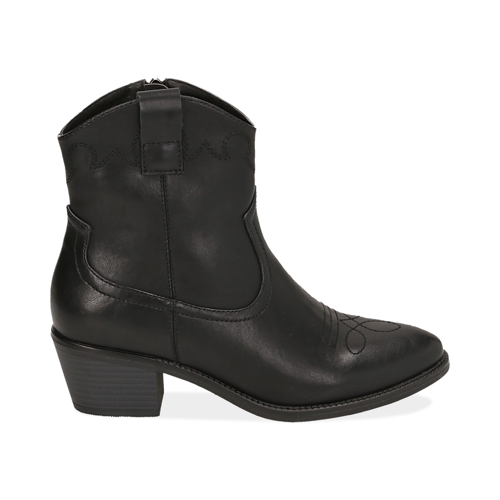 Ankle boots neri, tacco 4,50 cm