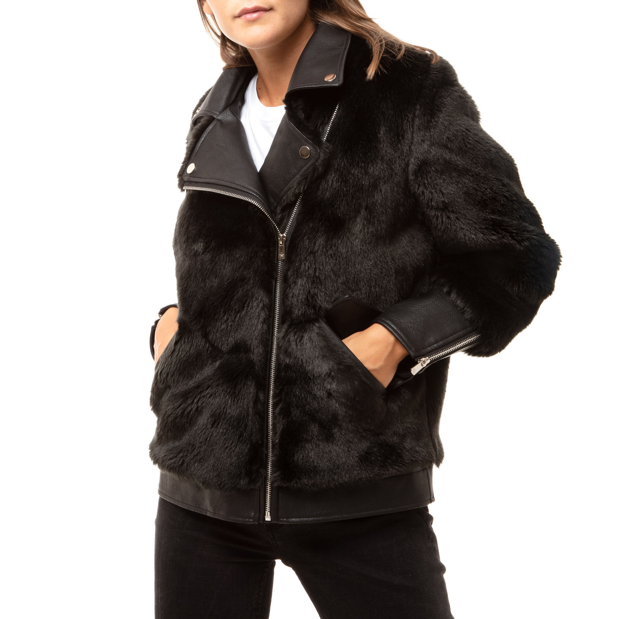 Biker jacket nera in eco fur