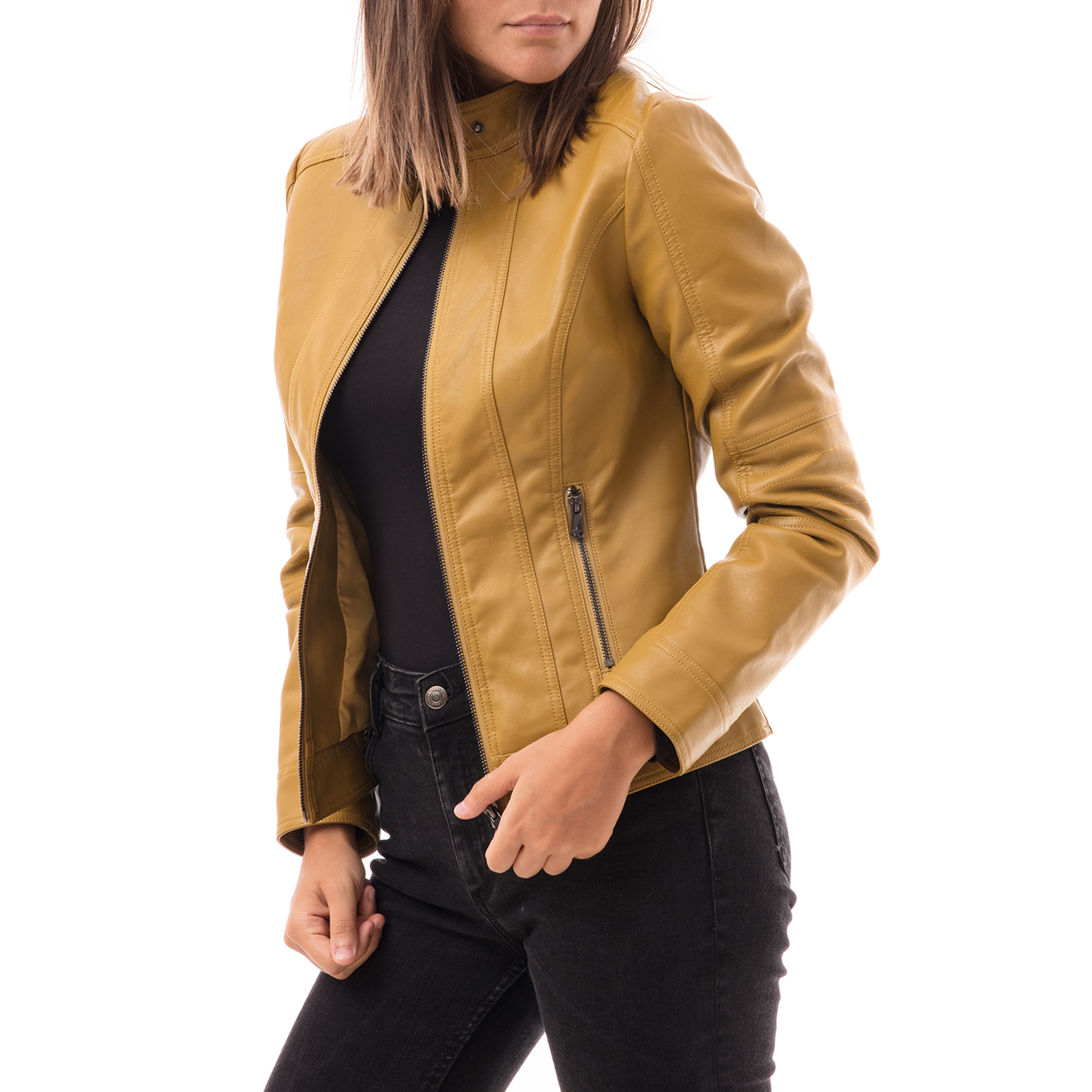 Biker jacket gialla in eco-pelle